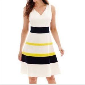 Evan picone white striped Dress